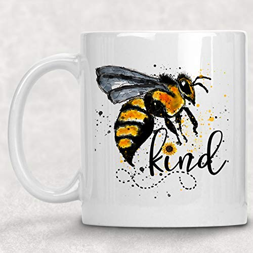 Bee Kind Bumble Bee Watercolor Mug Funny Sunflower Coffee Cup Gift for Her