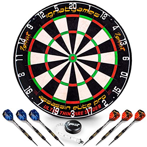 Professional Dart Board Set - Bristle/Sisal Tournament Dartboard with Complete Staple-Free Ultra Thin Wire Spider + 6 Steel Tip Darts + Darts Measuring Tape + Darts Guide (Assassin Elite Pro)
