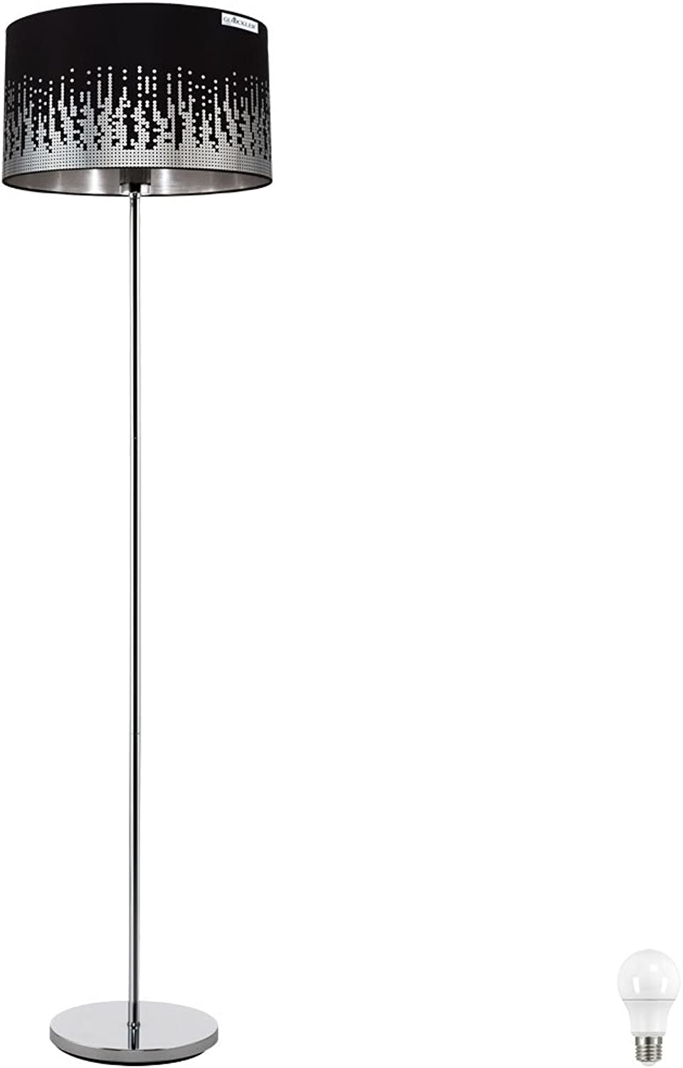 Steh Lampe Flur Strahler Fuschalter Textil Steh Leuchte Pailetten im Set inklusive LED Leuchtmittel