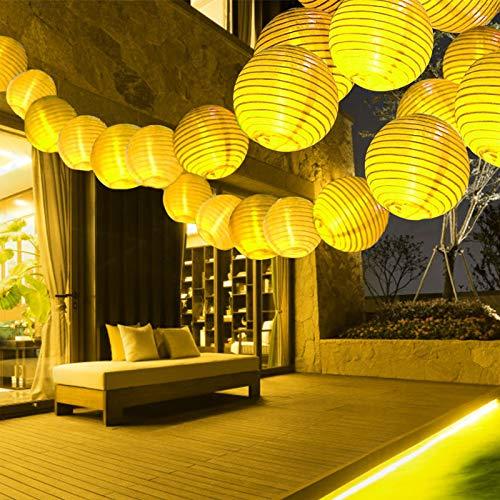 Lampion Lichterkette Außen, 10M 40LED Led Lichterkette mit Fernbedienung & Stecker, Lichterketten mit 8 modi und 3 Timing-Funktion, für Garten, Hof, Hochzeit, Fest Deko (Warmweiß)