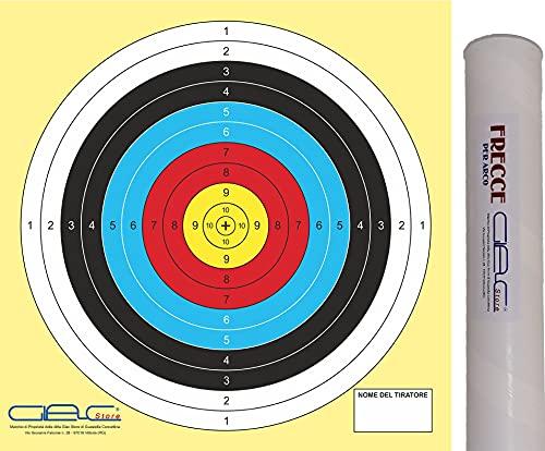 Glac Store® Juego de dianas Target con arco deportivo, 55 x 55 cm, diana para flecha cuadrada, círculo de polímeros de papel grueso + tubo porta flechas robusto con tapón de fácil transporte