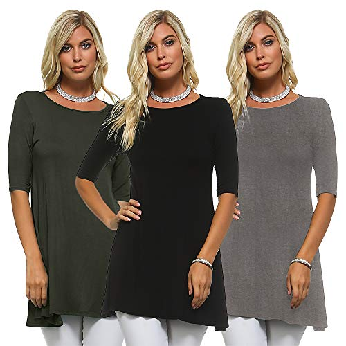 Isaac Liev Women's 3/4 Sleeve Tunic Top – Pack Of 3 Swing Flowy Long shirts (2X-Large, Charcoal, Black & Olive)
