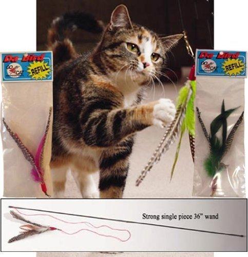 CoolCyberCats Da Bird Single 3Fuß Pole Cat Spielzeug mit 2extra Guinea Feder Refills