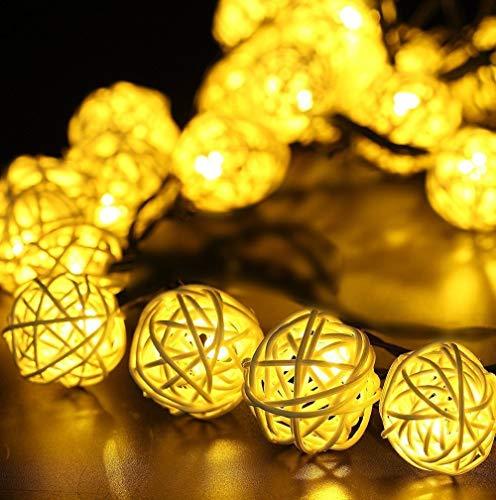 YXZQ Rattan Light, Solar Rattan Light 6M 30 LED Rattan Fairy Light Impermeable para jardín, Patio, Navidad, Boda, hogar, Fiesta, Interior, Exterior, decoración
