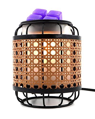 Elektrischer Wachs Duftlampe, Metall Vintage Webart Glas Kerzenwärmer Lamp, Aromatherapie Kerze Nachtlicht mit Lavendel Wachsblock und Bulbs, Aroma Lampe für Home Office Schlafzimmer Geschenke