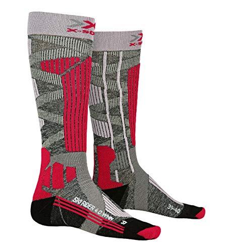 X-Bionic Ski Rider Socks G233 Stone Grey Melange/Pink 38