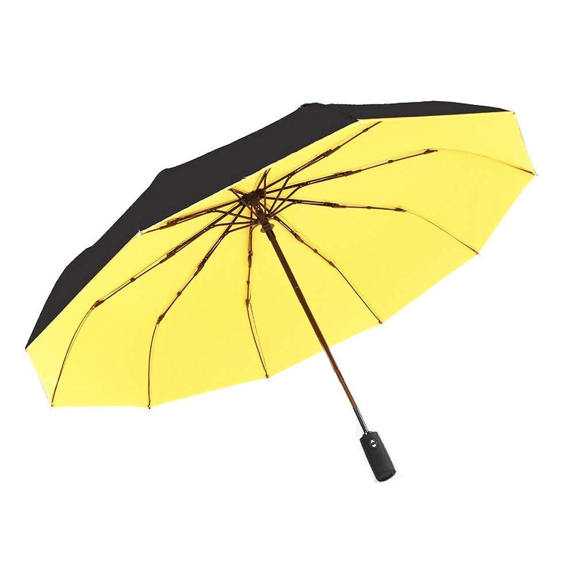 尊敬する重要性パイプSYMJP 折りたたみ傘 レディース メンズ 傘 10本骨 紫外線カット 晴雨兼用 自動開閉 (Color : イエロー, Size : フリー)