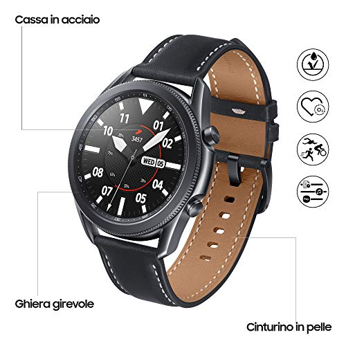 Samsung Galaxy Watch3 Smartwatch Bluetooth, cassa 45mm acciaio, cinturino pelle, Saturimetro, Rilevamento cadute, Monitoraggio sport, Batteria 340 mAh, IP68, Nero (Mystic Black) [Versione Italiana]