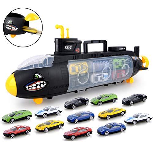 HEITIGN Hai U-Boot mit 12 Stück Automodelle, Kinder Mini Legierung Simulation Auto Modellbau Kits Spielzeug Anzug Hai U-Boot Transporter Tragetasche Aufbewahrungsbox für Kinder Geschenke