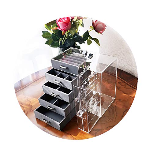 Madaory Acrylic Jewelry Organizer For Women Girls Jewelry Storage Velvet Jewelry Box With 5 Drawers 2 Hanging Necklace Earrings Holders Rings Bracelets Watches Holders GreyClear