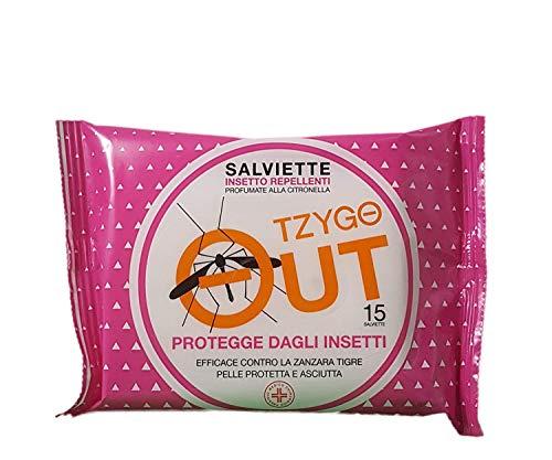TZYGO out | Salviette Repellenti per zanzara Tigre e zanzare Comune | Salviette antizanzare monouso | 1 Confezione da 15 salviette