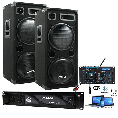 SONO DJ PACK 3000W complet + TABLE DE MIXAGE USB + 2 ENCEINTES 2000W + 1 AMPLI 1000W PA SONO DJ LIGHT BAR CLUB DISCO SOIREE DANSANTE