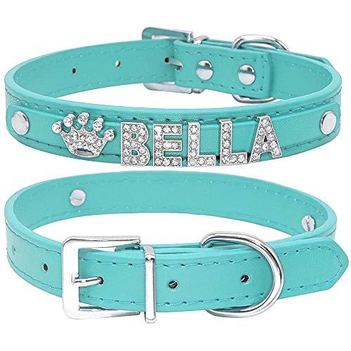 Collares de Perro Cachorro de Diamantes de imitación Brillantes Personalizados Perros pequeños Collar de Chihuahua Collar Personalizado encantos de Nombre Accesorios para Mascotas-Blue_XS