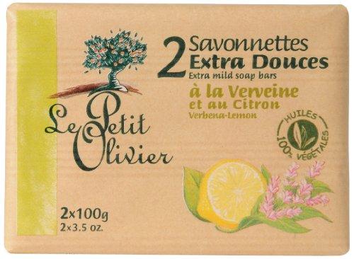 Le Petit Olivier - 0005028 - Hygiène Beauté - Savonnettes - Extra Douces - Verveine Citron - 2 x 100 g - Lot de 3