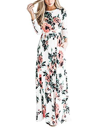 YUMDO Women's Floral Print Long Sleeve Dress Crew Neck Dresses White XL