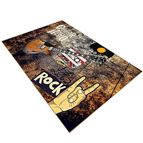 OLLY Teppiche Teppich Kurze Flusen 8mm Fußmatten Teppich 3D Gitarre Musik Design rutschfeste Waschbar Couchtisch Pads Für Wohnzimmer Schlafzimmer X (Color : B, Size : 140x210cm)