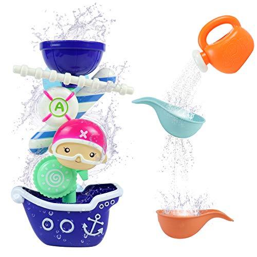 yoptote Badespielzeug Boot Badewanne ab 1 2 3 Jahre Badewannenspielzeug Kinder Wasserspielzeug Badewanne Kleinkind Spielzeug ab 1 2 3 Jahr