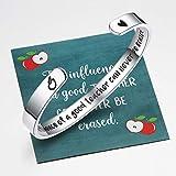 Ldurian Teachers Bracelet with Apple Bag, Inspirational Quote Bangle Cuff, Good Teacher Appreciation Gift, Bracelet for Women Men Present for Graduation, Goodbye, End of Year, Teachers Day, Retirement (with Apple Card)
