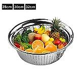 Pengyu Sieb, Edelstahl, Löcher, zum Waschen von Reis, Sieb, Obst, Gemüse, Abfluss, Sieb, Sieb, Schüssel – Silber 32 cm