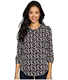 NYDJ Women's Size 3/4 Sleeve Henley Pleat Back Blouse, Birkin Chevron Vanilla, X-Small/Petite