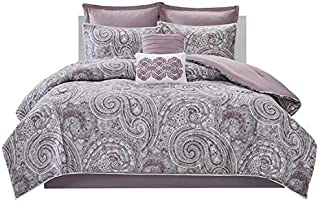 Comfort Spaces Kashmir 8 Piece Comforter Set Hypoallergenic Microfiber Lightweight All Season Paisley Print Bedding, Full/Queen, Soft Plum