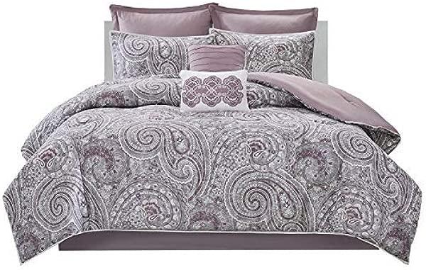 Comfort Spaces Kashmir 8 Piece Comforter Set Hypoallergenic Microfiber Lightweight All Season Paisley Print Bedding Cal King Soft Plum