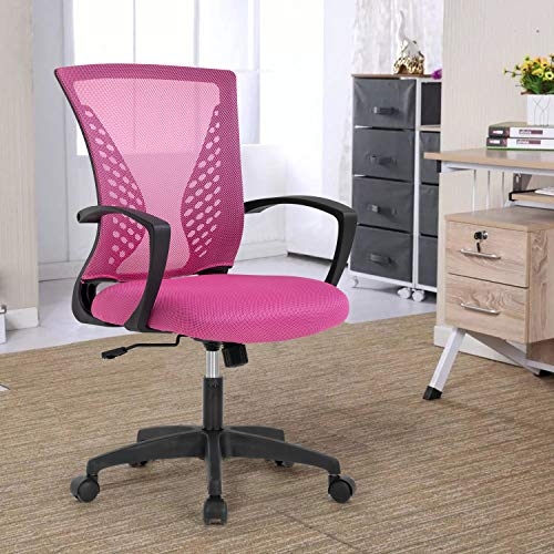 OffiClever Computer Ergonomic Chair Mesh Mid Back with Wheels Lumbar Support Armrest and Adjustable Executive for Men&Women, Pink