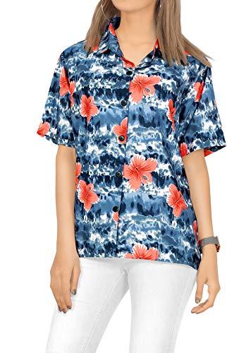 LA LEELA Women's Hawaiian Blouse Shirt Button Down Aloha Luau Shirt S Black_X27