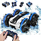 Amphibious Remote Control Car for Boys, Rabing RC Cars 2.4 GHz High-Speed RC Stunt Car 4WD Double Sided 360° Rotating Off-Road Monster Truck Water RC Car for Kids or Adult Gifts