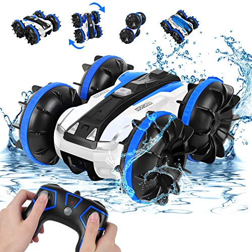 Amphibious Remote Control Car for Boys 8-12, Rabing RC Cars 2.4GHz High-Speed RC Stunt Car 4WD Double Sided 360° Rotating Off-Road Monster Truck Water RC Boat for 3 4 5 6 7 Years Old Kids Girls Gifts