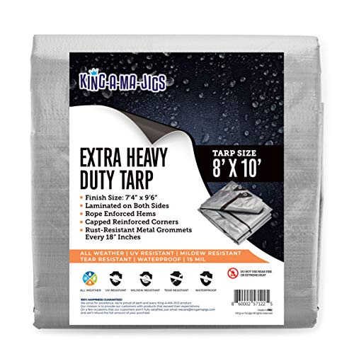 8x10 Super Heavy Duty Tarp, Extra Thick 15 Mil Waterproof Plastic Poly Tarpaulin with Metal Grommets Every 18 Inches - for Roof, Outdoor, Patio. Rain or Sun (Reversible, Silver and Black) (8x10)