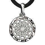 925 Sterling Silver Black Sun Wheel Necklace Sonnenrad Pendant Occult Symbol Kolovrat Warrior Amulet Talisman Pagan Norse Viking Jewelry for Men Women/Handmade