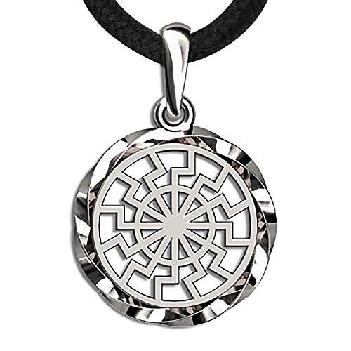 925 Sterling Silver Black Sun Wheel Necklace -Sonnenrad Pendant-Ancient Occult Symbol Kolovrat -Warrior Amulet Talisman- Pagan Norse Viking Jewelry for Men Women-Handmade