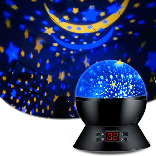 Star Sky Night Lamp,ANTEQI Baby Lights360 Degree Romantic Room Rotating Cosmos Star Projector With LED Timer Auto-Shut Off,USB Cable Plug For Kid Bedroom,Christmas Gift (Black)
