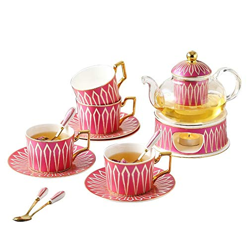 Europäischen Teeservice European Tea Set mit Kerze Warmer Glas Teekanne Blooming ungeheftetes Teekessel for 4 Personen Home Use Kaffeeset Tee (Color : Pink, Size : 14pcs)