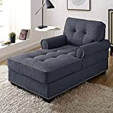 Chaise Lounge Chair Indoor Longue Chair 59' Fabric Sleeper Chair Modern Living Room Chaise Chair for Bedroom,Home Office, Grey