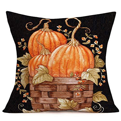 Xihomeli - Funda de almohada de algodón con diseño de flores de arce y hojas de arce para decoración del hogar, sofá, 45,7 x 45,7 cm