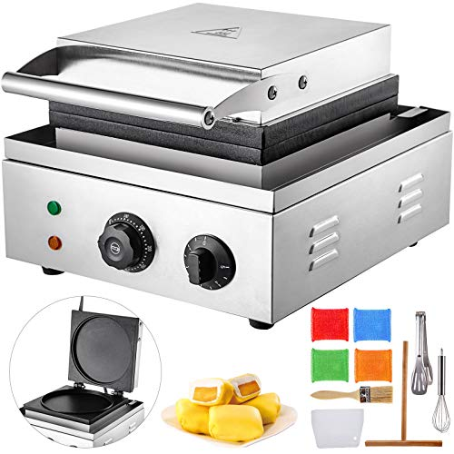 VBENLEM Commercial Crepe Maker 8.7-Inch Parallel Heating Crepe Machine 1550W Electric Crepe Maker 50-300℃ with Diameter Heating Plate Crepe Griddle Commercial