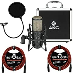 This AKG Project Studio P220 Large-Diaphragm Cardioid Condenser Microphone comes with all the manufacturer accessories and a 2 year USA warranty along with a 3-piece bundle which includes 2 Mophead 15' Road Ready Braided XLR Cables - Black & Red and ...