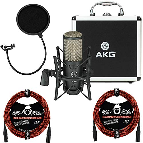AKG Project Studio P220 Large-Diaphragm Cardioid Condenser Microphone Bundle with 2 Mophead 15' Road Ready Braided XLR Cables and Pop Filter