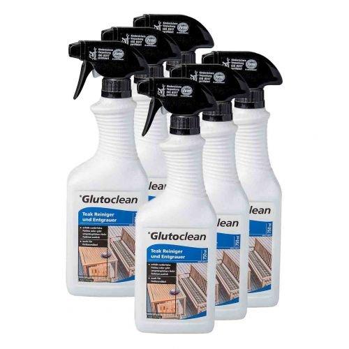 Glutoclean 6 x Glutoclean Teak Reiniger und Entgrauer 0,75l