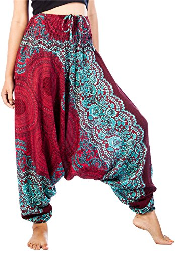 LOFBAZ Harem Yoga Pants for Women Hippie Boho Bohemian Clothing Womens Beach Indian Gypsy Clothes Genie Maternity Jumpsuit Rose 1 Burgundy