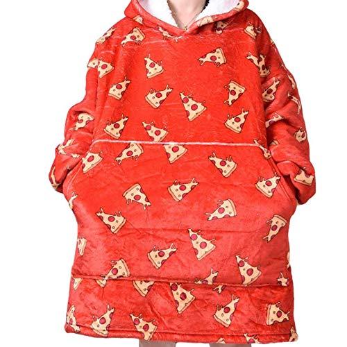 Carjourney Kapuzendecke Winter Warm Pocket Hooded Decken Erwachsene Kinder Bademantel Sofa Gemütliche Decke Sweatshirt Plüsch Korallenvliesdecken Verschleißt Bequeme Decke (Pizza)