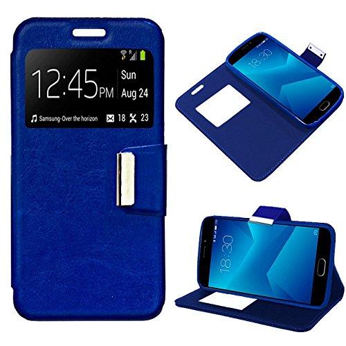 iGlobalmarket Funda Flip Cover Tipo Libro con Tapa para Meizu M5 Note Liso Azul