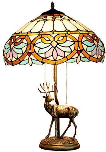 AWCVB Lámpara De Mesa De Cristal De Noche Tiffany Style Night Tull De La Cadena De La Rueda del Diseño