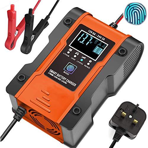 HAOSHUAI 12V / 24V Smart Battery Charger, Pulse Reparatur-Ladegerät mit LCD-Anzeige, Überwachung Intelligent Mode Überspannungsschutz Temperatur