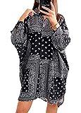 Robe midi bohème à manches longues pour femme - Imprimé floral vintage - Robe chemise une pièce...