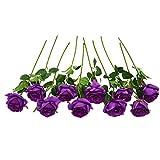 JUSTOYOU - Ramo de rosas artificiales de seda (10 unidades) morado