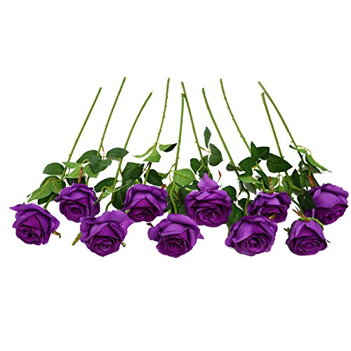 JUSTOYOU 10 Pack Seide Künstliche Rose Blumen Brautstrauss Blumen(lila)