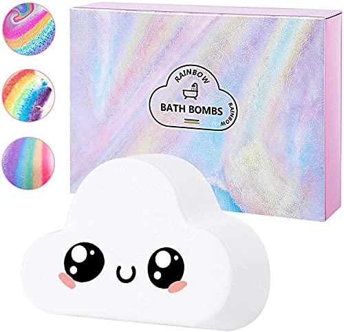Bombas de baño arcoíris, (1 paquete) bombas de baño hechas a mano de gran tamaño de 6.36 oz con ingredientes naturales, bomba de baño en la nube con burbujas de colores, regalo para ella y los niños